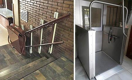 , Échelle avec plate-forme pour fauteuil roulant   monte-escalier