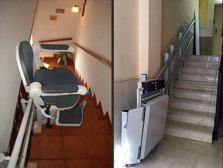 Monte-escalier pour escaliers étroits